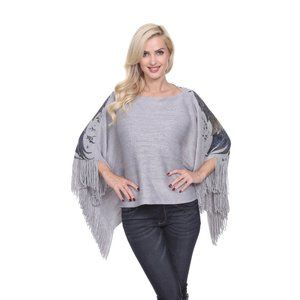 Eagle Wings Poncho top in silver grey 642-01